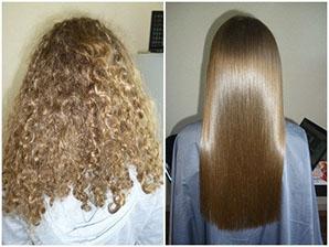 Выпрямлени волос в салоне красоты Jadore До/После процедуры