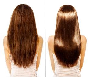 Кератиновое восстановление волос в салоне красоты Jadore До/После процедуры